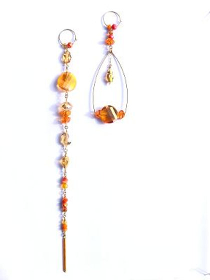 overstanding orange & yellow crystal with swarovski crystal scarab earrings