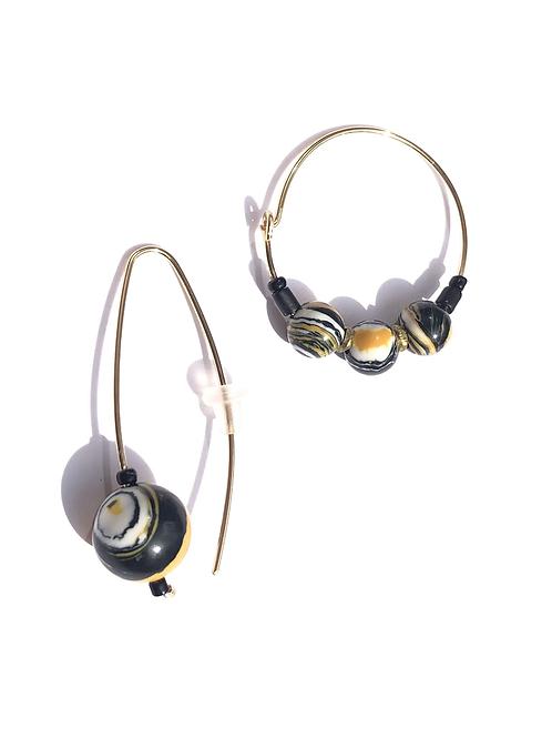 honey child white, black & yellow dakota stone earrings