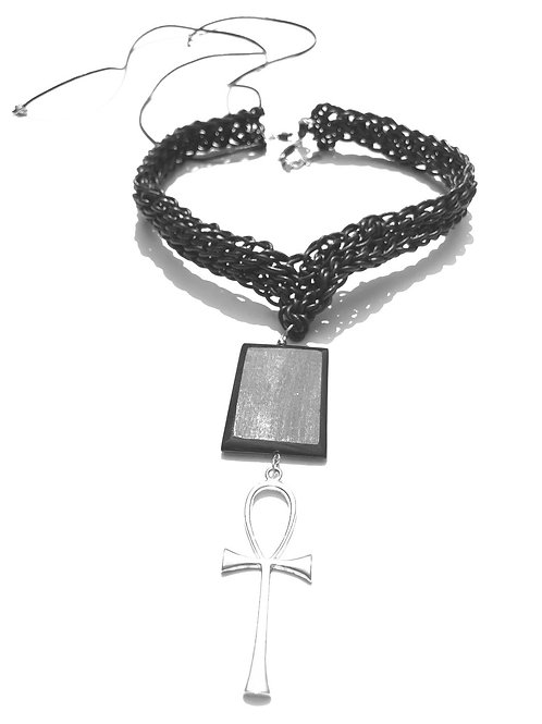 eternally living black leather, buffalo horn & sterling silver ankh choker
