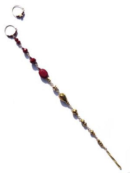 glass of bordeaux & gold crystal tata tickler & mini hoop