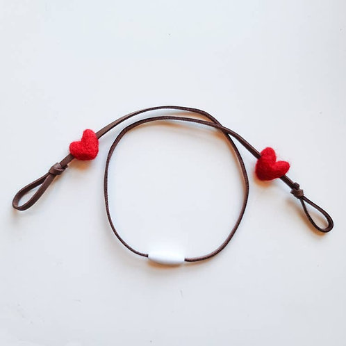 Kids/Adult Mask Lanyard - Felt Red Heart