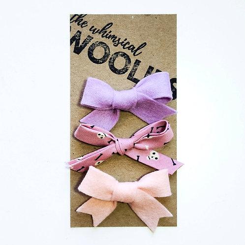 Whimsy Felt Hair Bow - Floral/Fabric Set