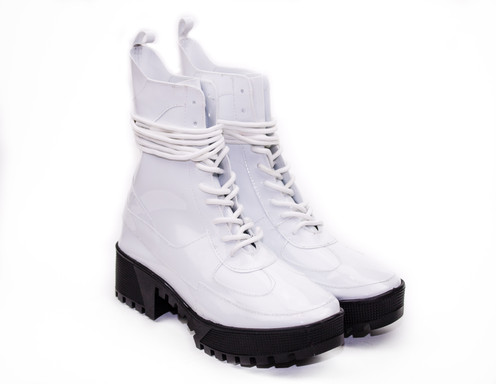 5a6c3cf30 DASHING Lug Sole Combat Boots in White