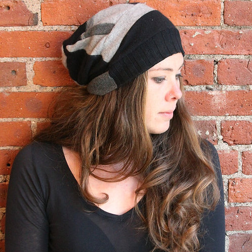 Cashmere Hat Gray and Black