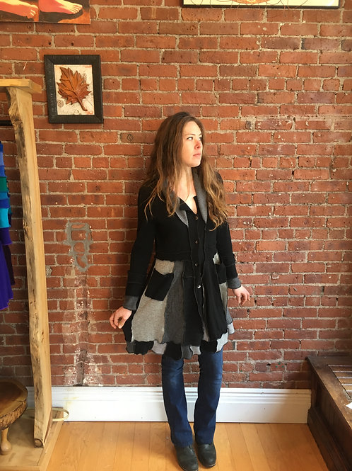 made to order cashmere black and gray sweater coat.