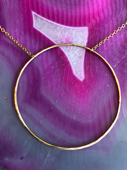 Full moon Gold circle necklace