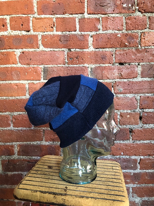 Cashmere Slouchy Patchwork Hat-Blues