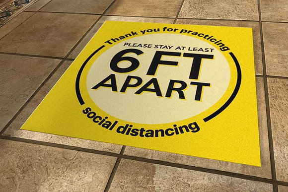 Social Distancing Floor Decal | Non-Slip Self-Adhesive Decal