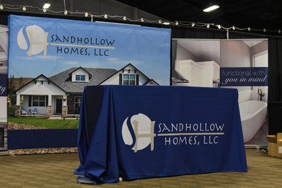 Sandhollow Homes Tradeshow Backdrops and Table Cloth