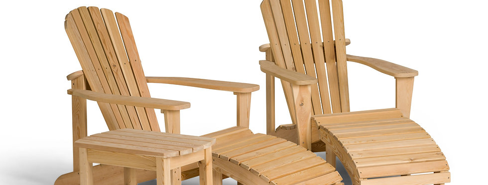 Two Adirondack Chairs with Footrests and Coffee Table