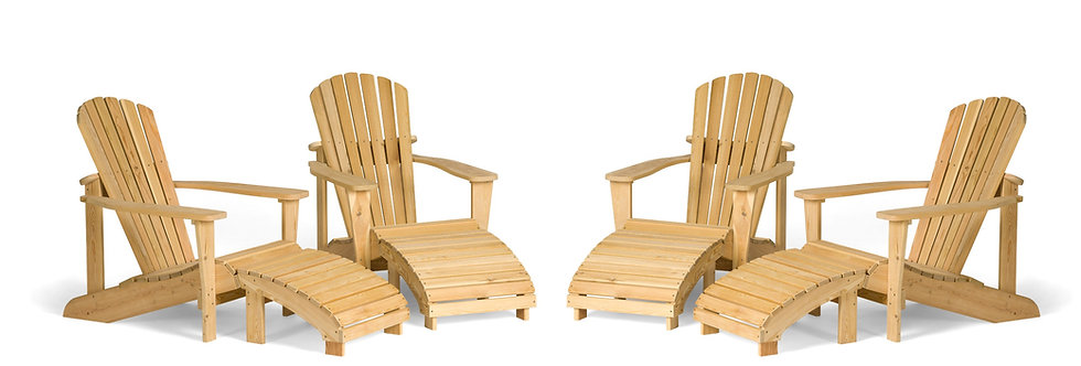 Four Adirondack Chairs with Footrests and Two Coffee Tables