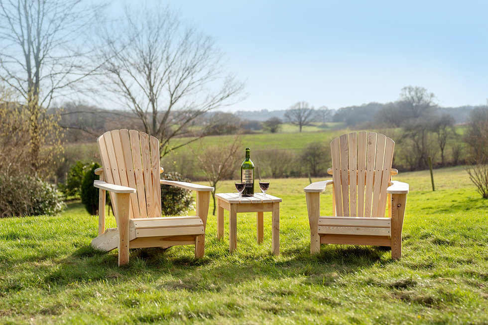 Two Adirondack Chairs with Table
