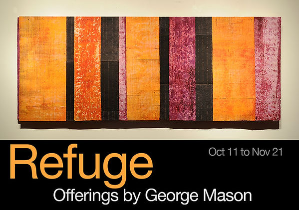 "Exhibition card for ""Refuge: Offerings by George Mason"" showing one of his paintings"