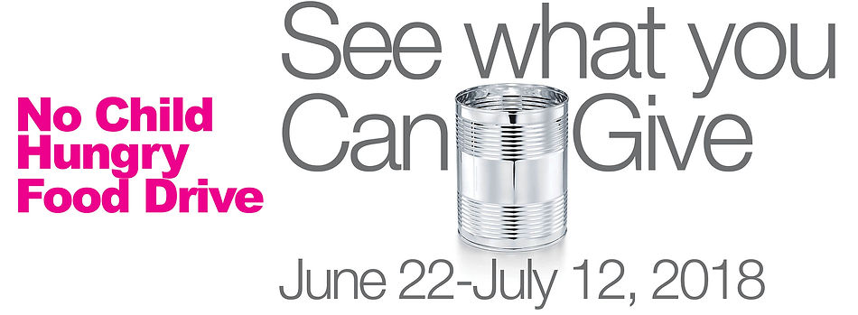 "A banner image with ""See what you can give"" and a food can graphic, along with exhibition dates, and the words ""No Child Hungry Food Drive"""