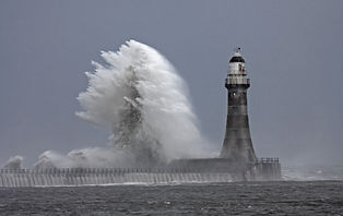 Stormy weather and rough seas at Roker L