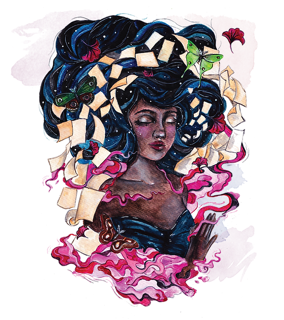 Watercolour drawing of a black woman surrounded by pages, butterflies and leaves