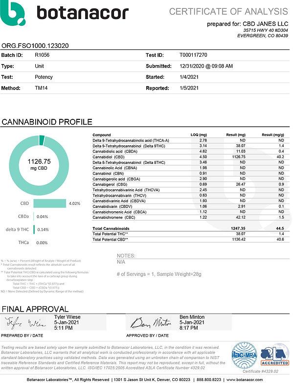CBD JANES LLC ORG.FSO1000.123020 - T0001