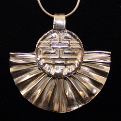 Silver Fan with Ancient Symbol