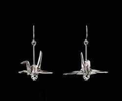 Short Silver Crane Earrings