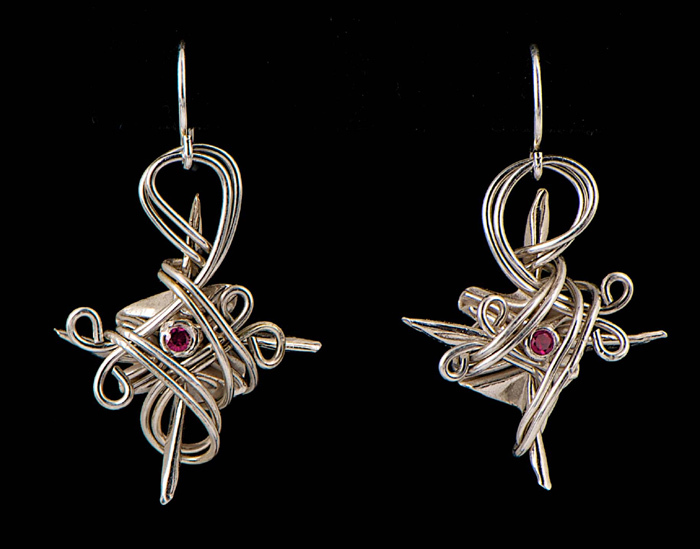 Silver Wire-Wrapped Star Earrings