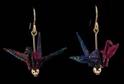 short paper crane earrings