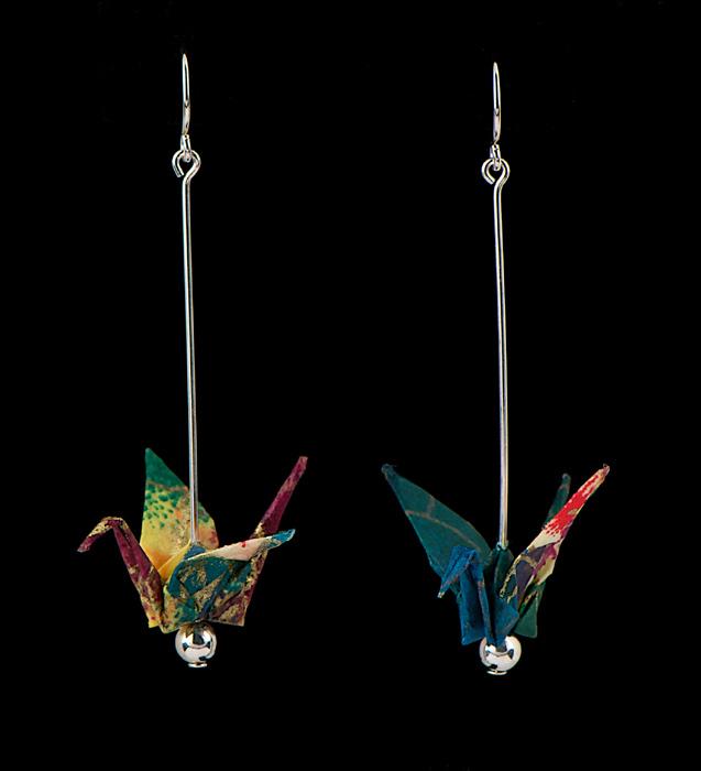 long paper crane earrings