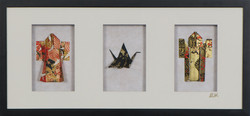 Triple Shadowbox Kimonos w/Crane