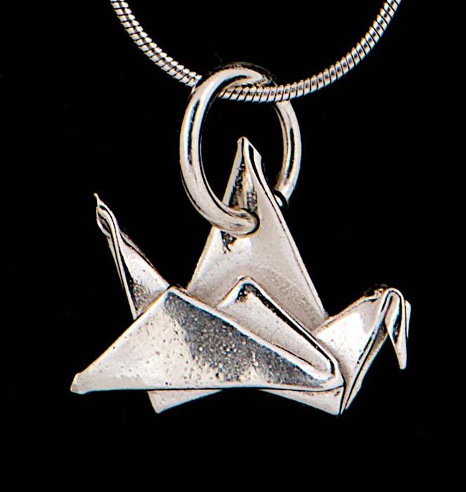 Silver Flat Crane Pendant