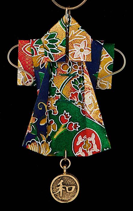 paper kimono pendant/pin