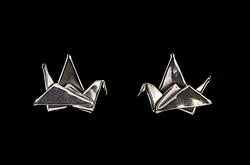 Silver Crane Post Earrings