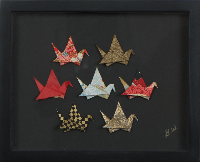 Multiple Cranes Shadowbox