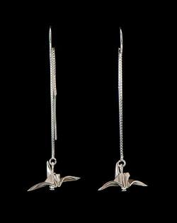 Silver Earthread Bird Earrings