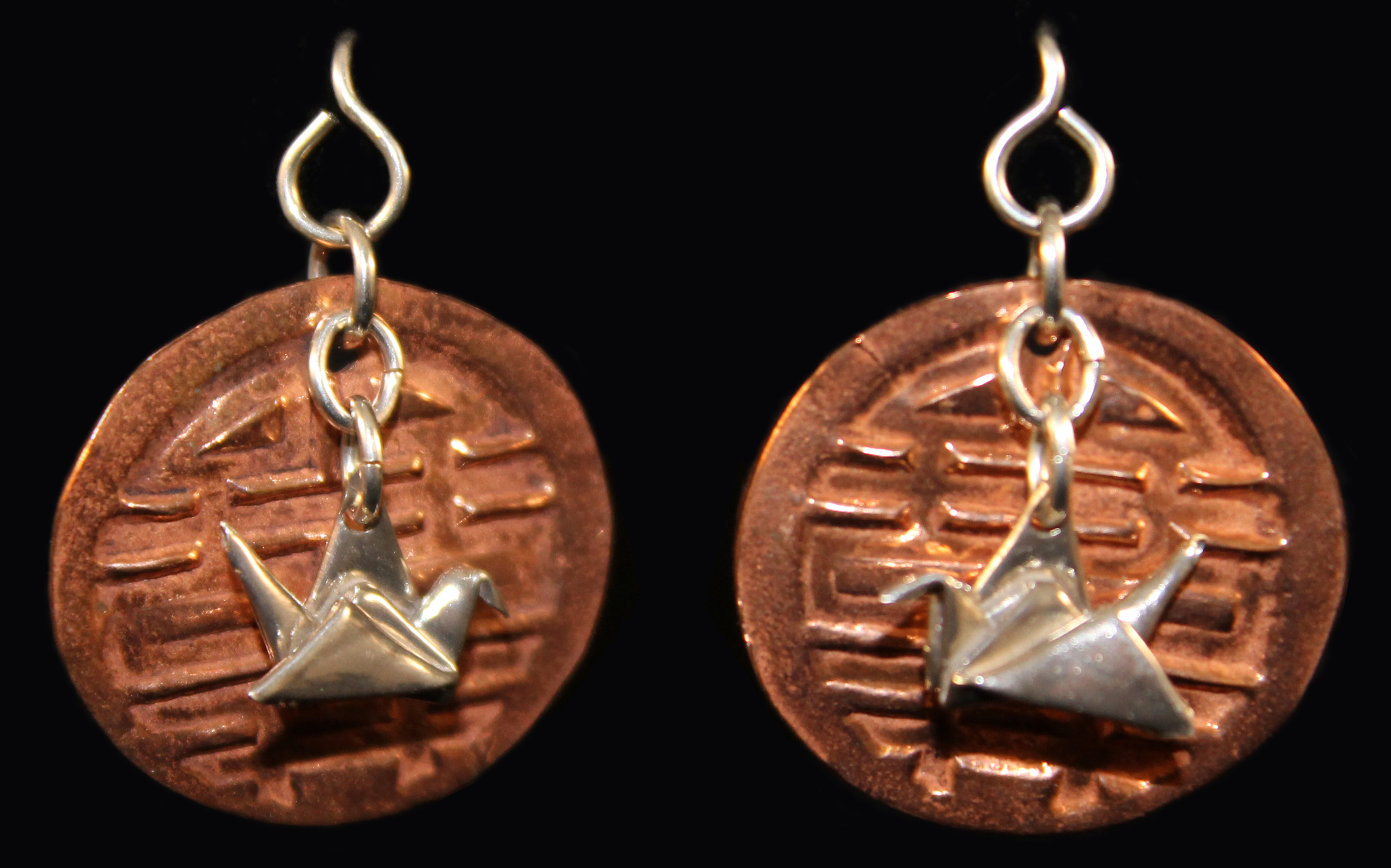 Silver Crane on Copper Disk Earrings