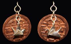 Silver Crane on Copper Disk Earrings