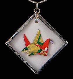 reversible glass crane pendant