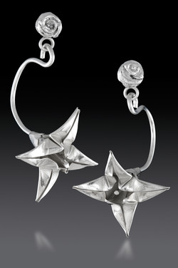 Silver Curved Lily Earrings