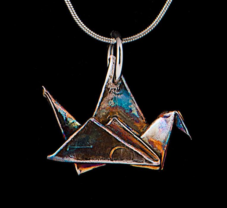 "Silver ""Message"" Crane Pendant"