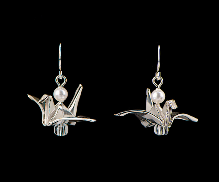 Silver Bird with Pearl Earrings