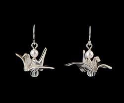Silver Bird with Pearl Earrings