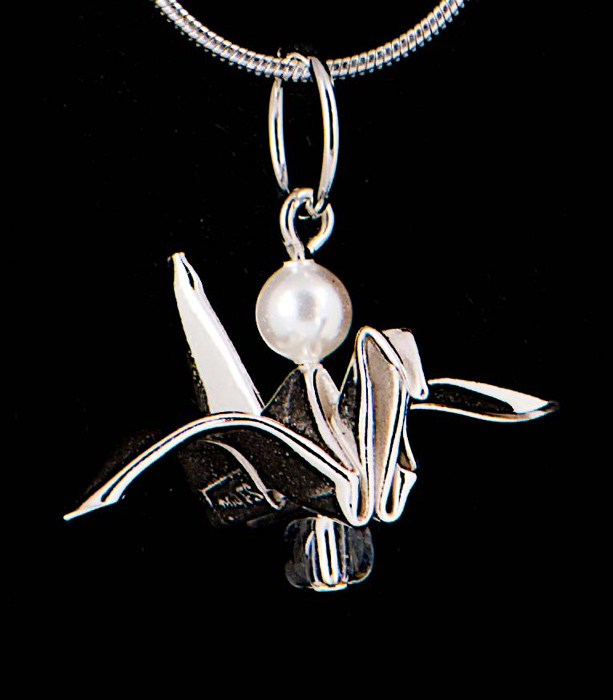 Silver Bird with Pearl Pendant