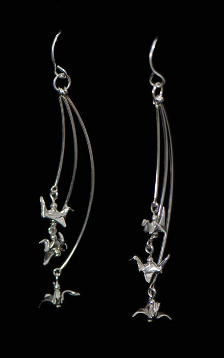 Silver Tiered Bird Earrings