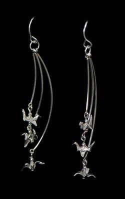 Silver Tiered Bird Earrings