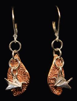 Copper Leverback Silver Crane Earrin