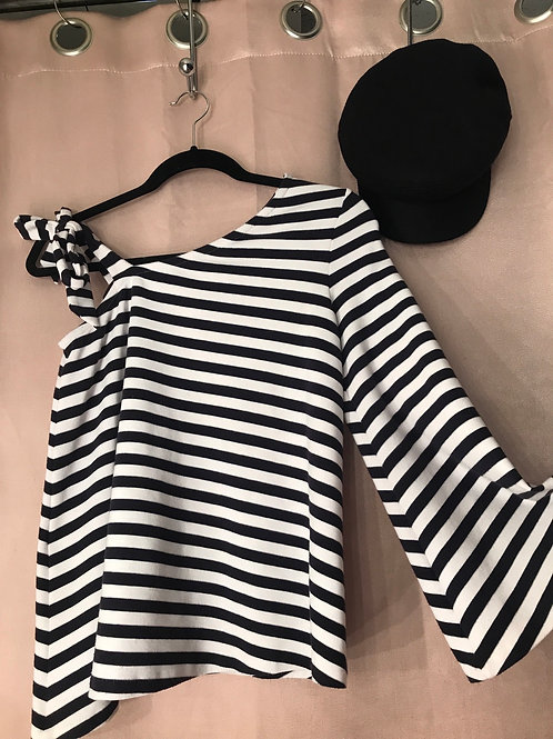 Club Monaco Sweater- Size Small - Navy Striped