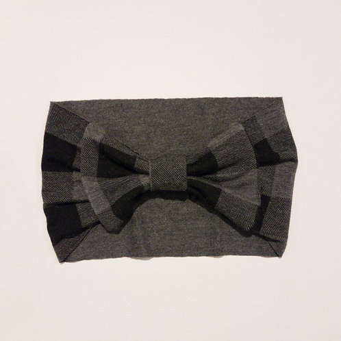 JR Grey Buffalo Plaid Bow Headband - Institches
