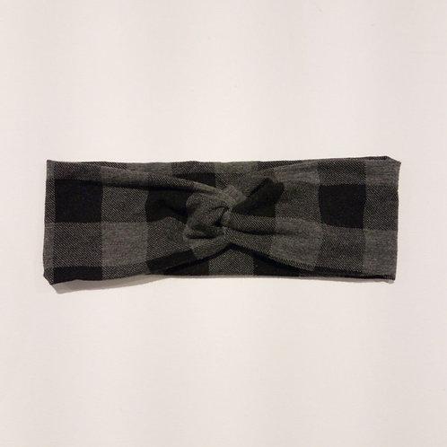 JR Grey Buffalo Plaid Headband - Institches