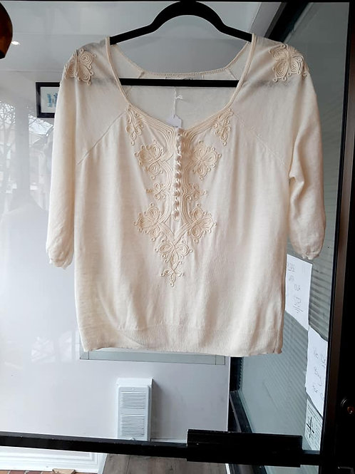 Cream Embroidered Longsleeve Top