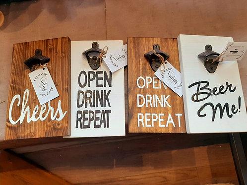 Beer Opener Wood Sign - Vintage Twine