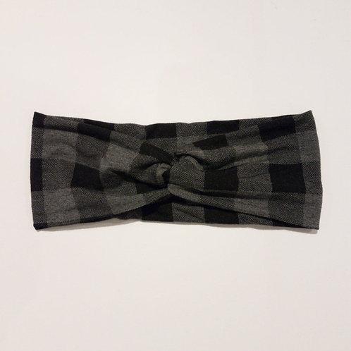 Adult Grey Buffalo Plaid Headband - Turban Style - Institches