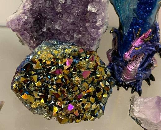 Titanium Aura on Amethyst Cluster